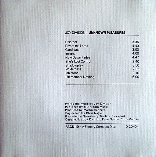 Unknown Pleasures track listing