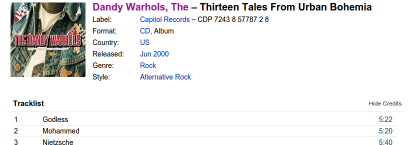 Discogs page for Thirteen Tales From Urban Bohemia