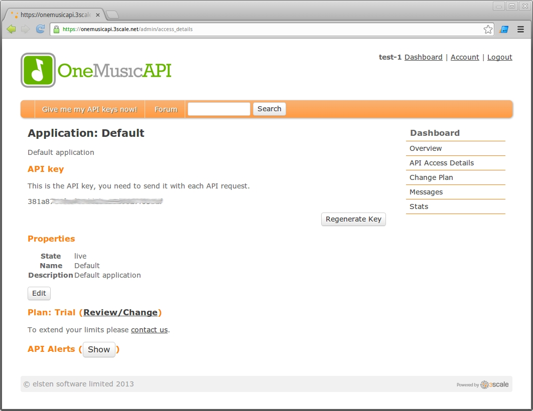 API access details in the OneMusicAPI developer portal
