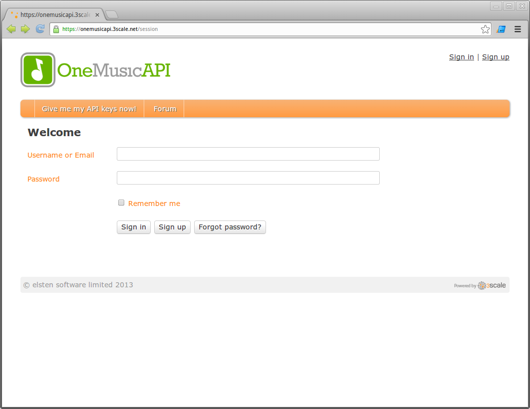 OneMusicAPI developer portal login page